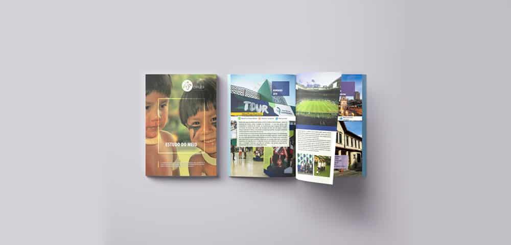 Mídia Impressa de Material Impresso Revista Catálogo Folder Folheto feito e criado pela empresa especializada M45 Arte para estudo do meio escolas