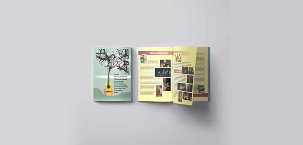 Mídia Impressa de Material Impresso Revista Catálogo Folder Folheto feito e criado pela empresa especializada M45 Arte para Músicos