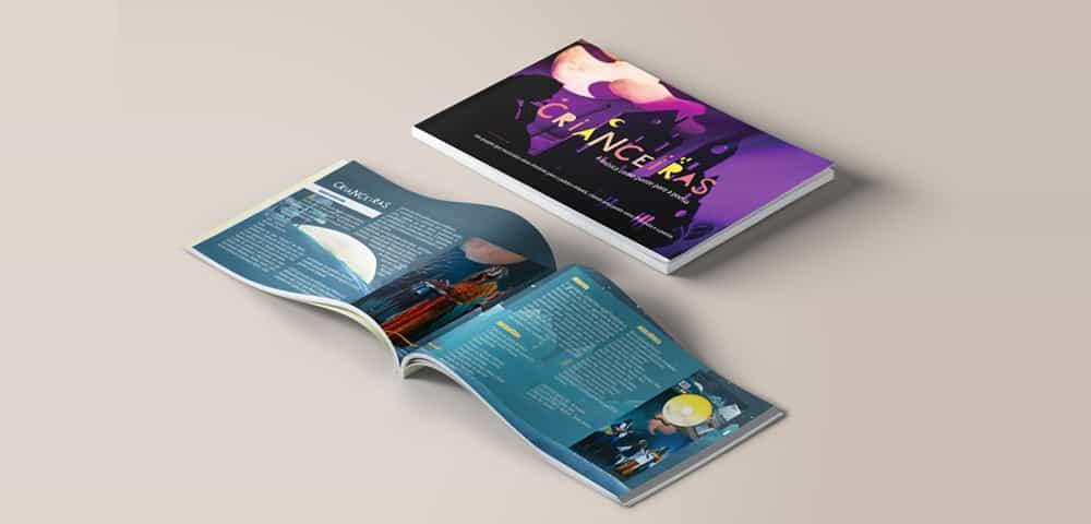 Mídia Impressa de Material Impresso Revista Catálogo Folder Folheto feito e criado pela empresa especializada M45 Arte para musical músicos cultural